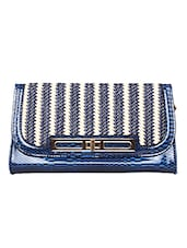 Blue Snakeskin Printed Decorative Clutch - By