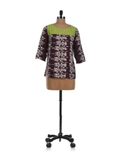 Brown Ikat Print Top - NUN