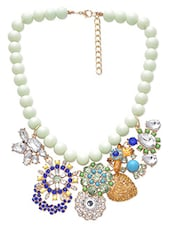 Multicoloured Metallic Studded Necklace - By