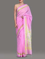 Pink Cotton Silk Jamdani Saree - By