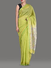 Light Green Cotton Silk Jamdani Saree - By
