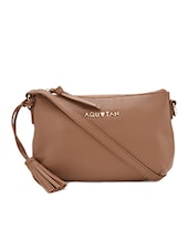 Textured brown leather sling bag -  online shopping for sling bags