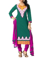 Green Embroidered Chanderi Cotton Semi Stitched Suit Set - By