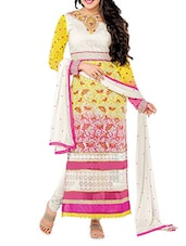 Multicolour Embroidered Georgette Semi Stitched Suit Set - By