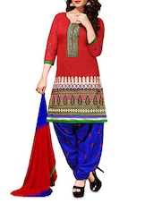 Red Embroidered Chanderi Cotton Semi Stitched Suit Set - By