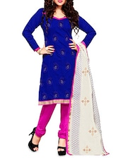 Blue Embroidered Chanderi Cotton Semi Stitched Suit Set - By