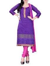 Purple Embroidered Chanderi Cotton Semi Stitched Suit Set - By