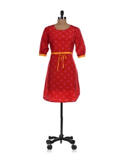 Red Floral Dress With Belt - NUN