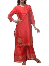 Red Dupion Hand Block Printed Kurta - By