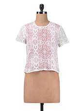 White Plain Cotton Laced Top - By