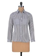 Grey Stripes Printed Georgette Shirt - By