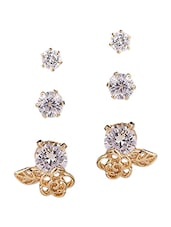 gold metal studs earring  (set of 3) -  online shopping for earrings
