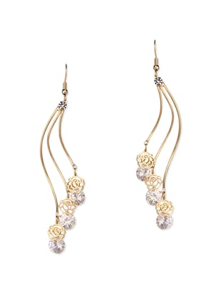 gold metal drop earring -  online shopping for earrings