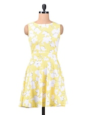 Yellow Printed Poly Crepe Dress - By