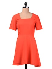 Orange Plain Polyester Dress - By