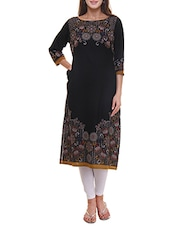Black Wool Blend Straight Kurta - By