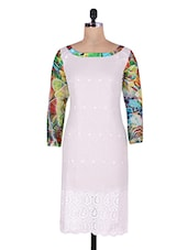 White Kurti With Embroidery And Cutwork - By