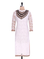 White Floral Printed Embellished Net Kurti - By