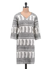 V Neck Block Printed Cotton Kurta - By