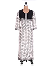 White And Black Rayon Printed Kurti - By