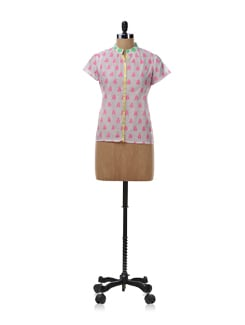 White And Pink Sheer Shirt - NUN