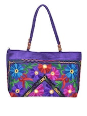 Purple Embroidered Designer Hand Bag - By