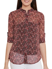 red floral printed chiffon regular shirt -  online shopping for Shirts