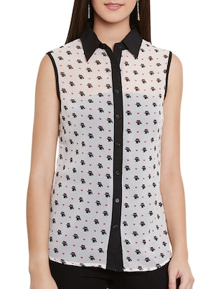 white printed crepe regular shirt -  online shopping for Shirts