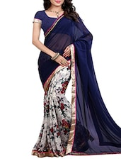 blue georgette none saree -  online shopping for Sarees
