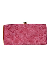 Pink Textured Leatherette Clutch - By
