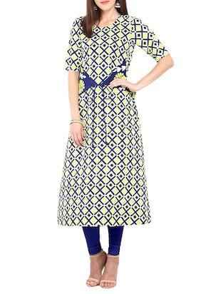 Multi coloured poly crepe printed a-line kurta -  online shopping for kurtas