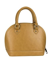 Solid Tan Leatherette Handbag - By
