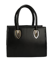 Textured Black Leatherette Handbag - By