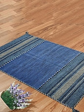 Blue Cotton Modern Carpet - By