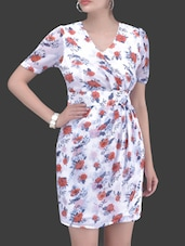 White Floral Print Dress - By