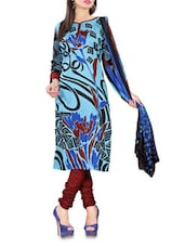 Printed Light Blue Cotton Unstitched Suit Piece - By