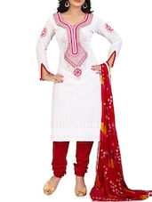 White Embroidered And Pink Cotton Salwar Kameez - By
