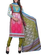 Pink Embroidered  And Light Blue Cotton Unstitched Suit Piece - By