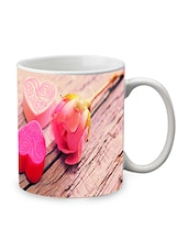 White Ceramic Rose Mug - By