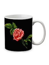 Black Ceramic Rose Mug - By