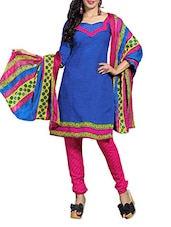 Blue And Pink Printed Unstitched Suit Set - By