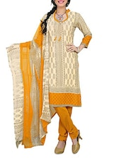 Beige And Orange Printed Unstitched Suit Set - By