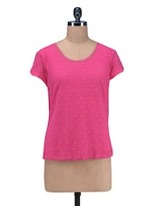 Pink Plain Poly Lace Top - By