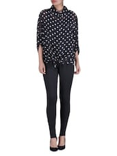 Black Polka Dots Printed Georgette Shirt - By