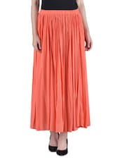 Orange Plain Cotton Crepe Skirt - By
