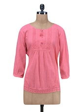 Pink Plain Pin Tucked Cotton Crepe Top - By