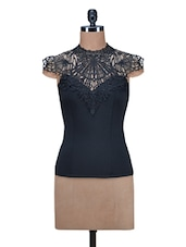 Black Poly Knit Top With Lace Yoke - By