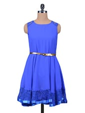Solid Blue Dress With Waist Belt - By