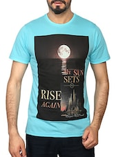 light blue cotton tshirt -  online shopping for T-Shirts