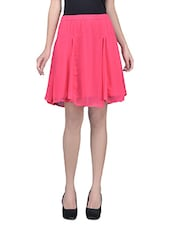 Pink Plain Poly Chiffon Skirt With Gathers And Elastic - By